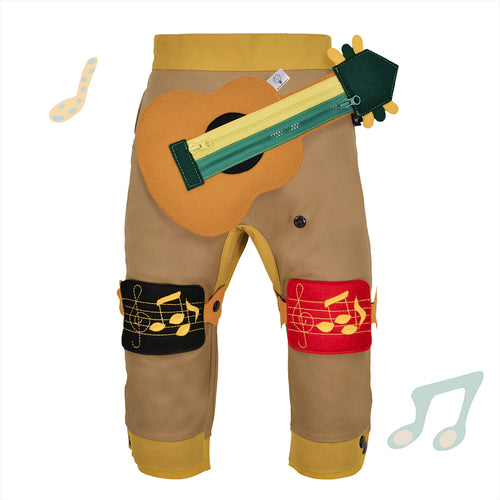 BAND SET - Trousers duo colori with BAND toy - Beige beige baby