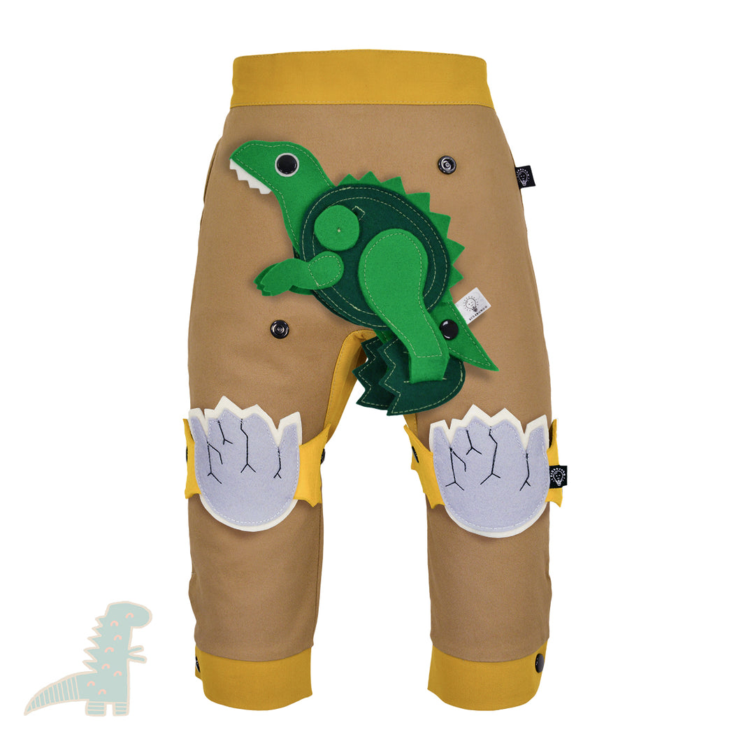 DINO SET - Trousers duo colori with DINO Toy - Beige beige baby