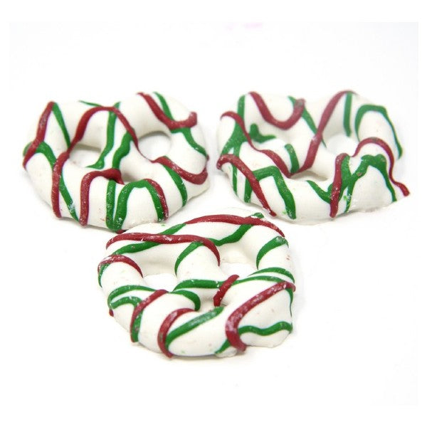 Red & Green Drizzled Pretzels (16 oz)-Nuts-We Are Nuts!