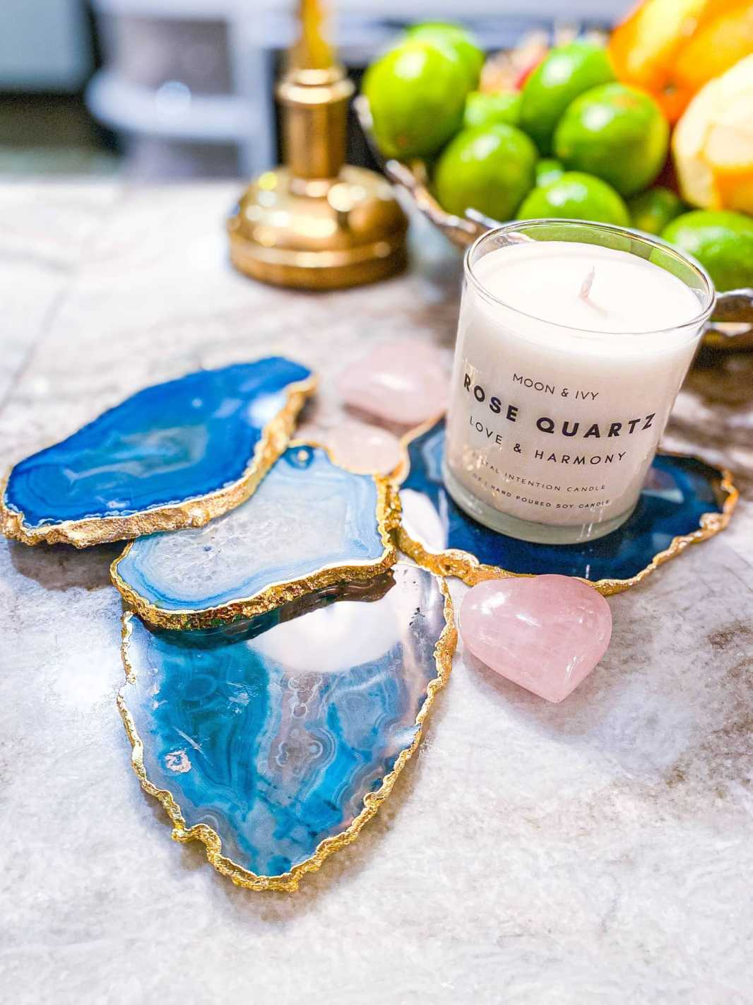 Blue Agate Crystal Coasters, Gold Plated