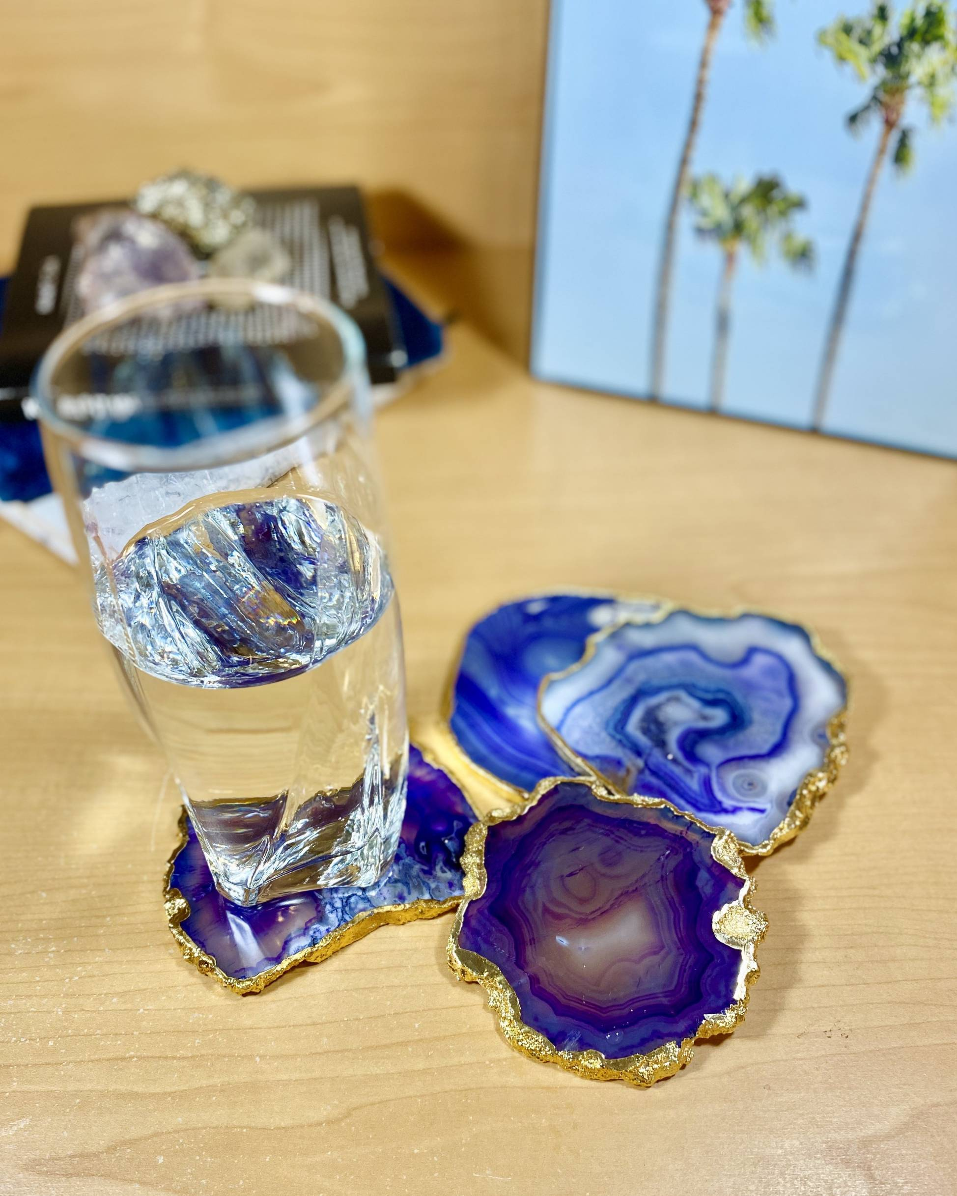 Purple Agate Crystal Coasters, Gold Plated