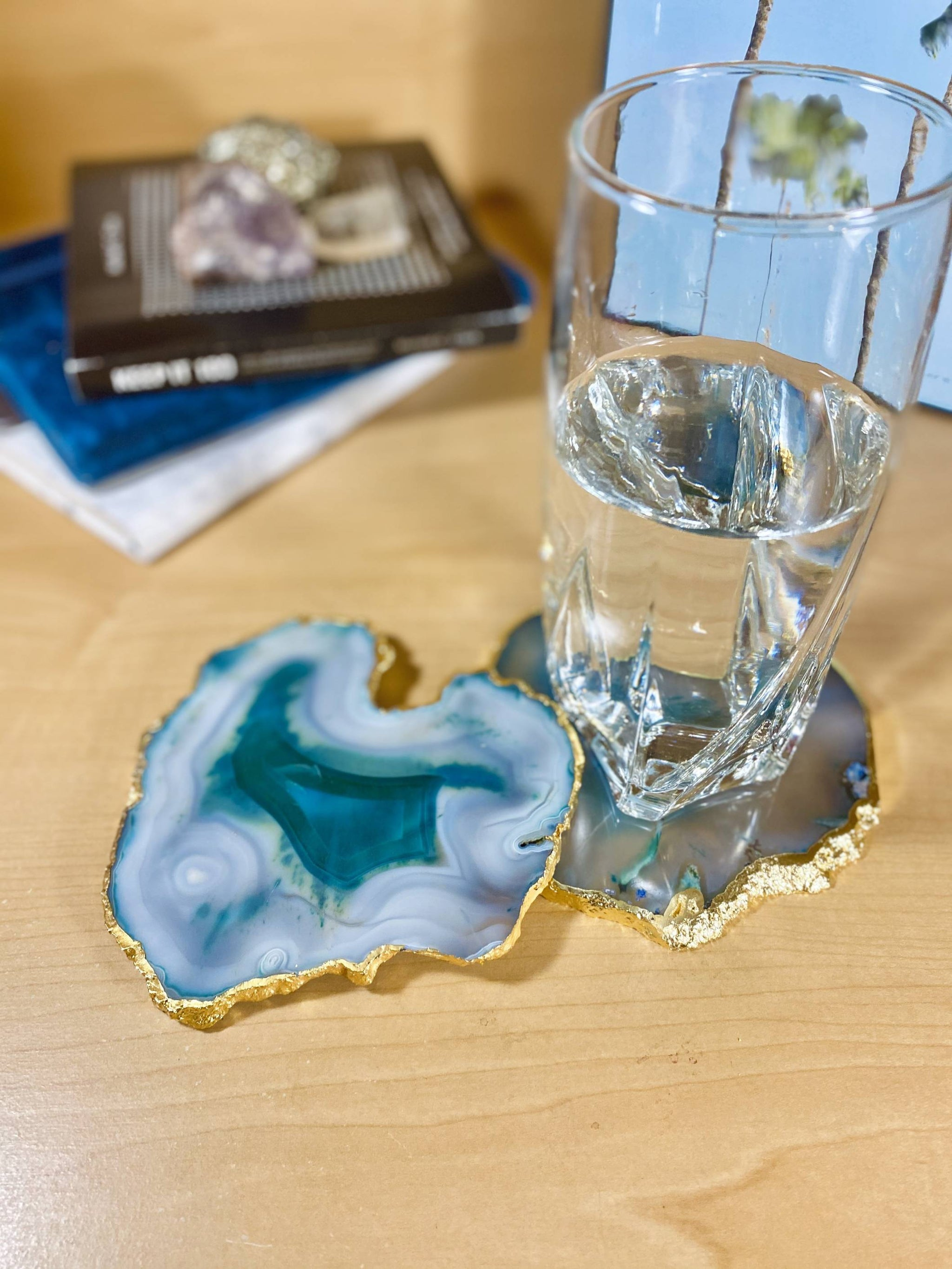 Teal Agate Crystal Coasters, Gold Plated