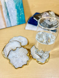 White Agate Crystal Coasters, Gold Plated