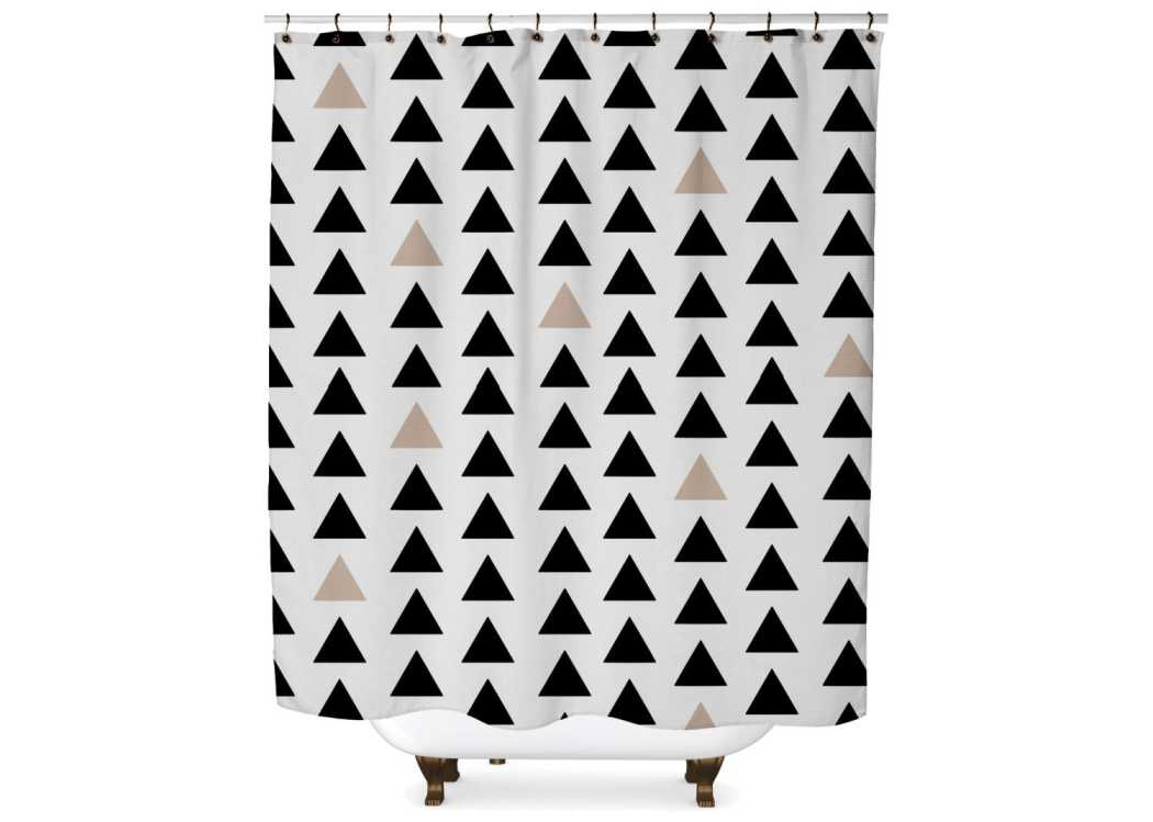 Black and Tan Triangle Shower Curtain Shower Curtain Days End Designs