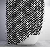 Black and White Chevron Shower Curtain Shower Curtain Days End Designs Standard 70x70