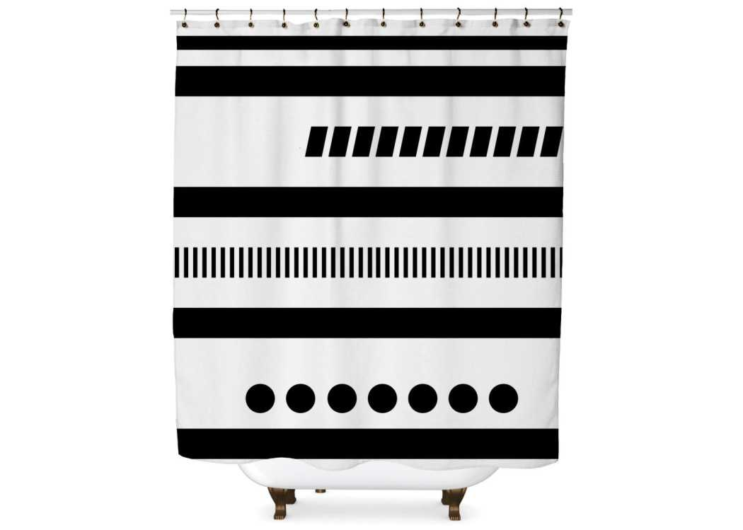 Black and White Geometric Tribal Shower Curtain Shower Curtain Days End Designs