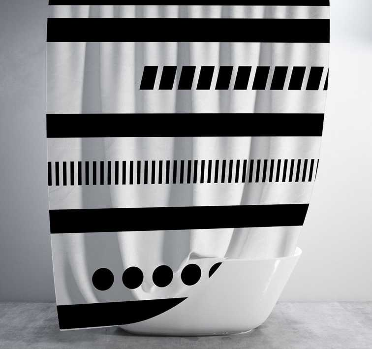 Black and White Geometric Tribal Shower Curtain Shower Curtain Days End Designs Standard 70x70