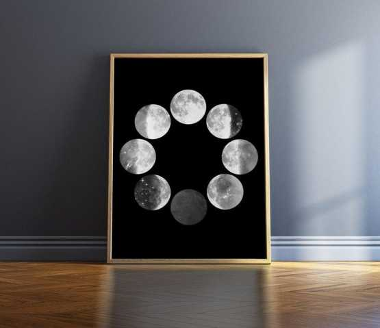 Black And White Moon Phases Wall Art Print Wall Art SennaMi 5x7 inches