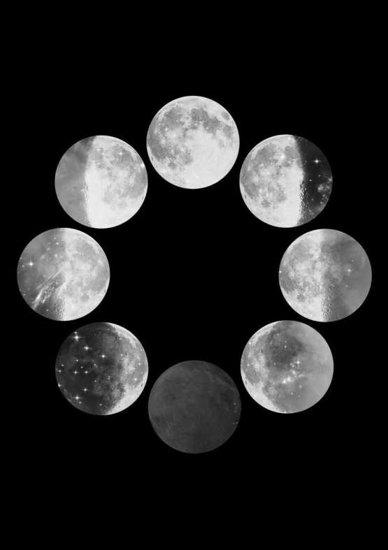 Black And White Moon Phases Wall Art Print Wall Art SennaMi