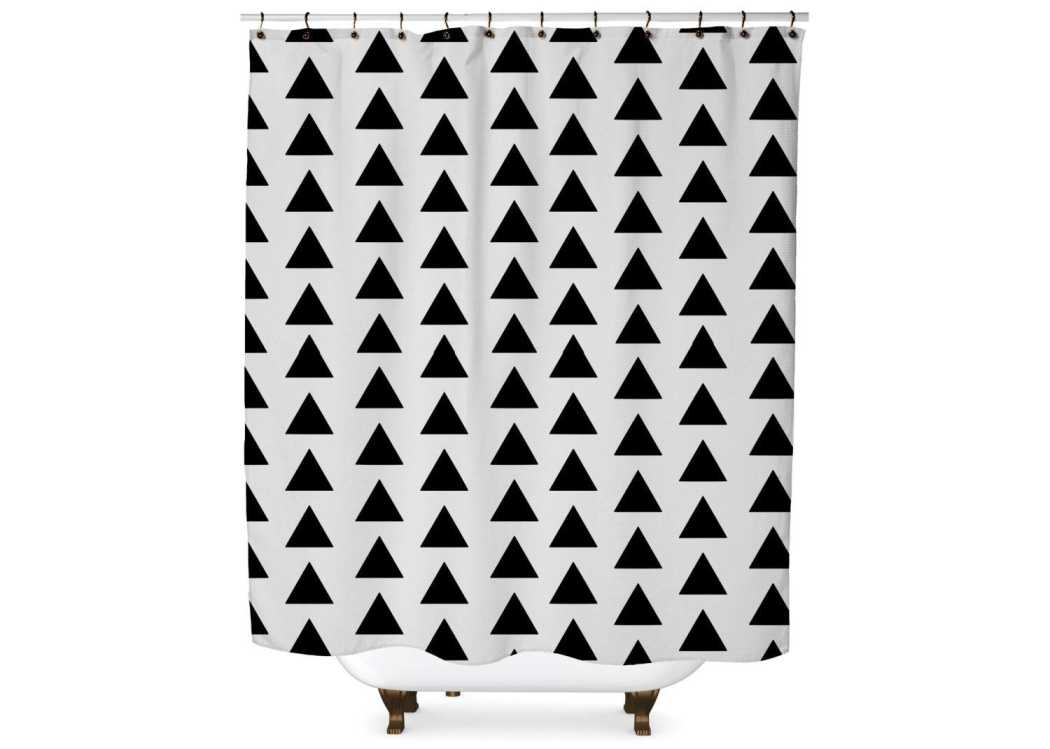 Black and White Triangle Shower Curtain Shower Curtain Days End Designs