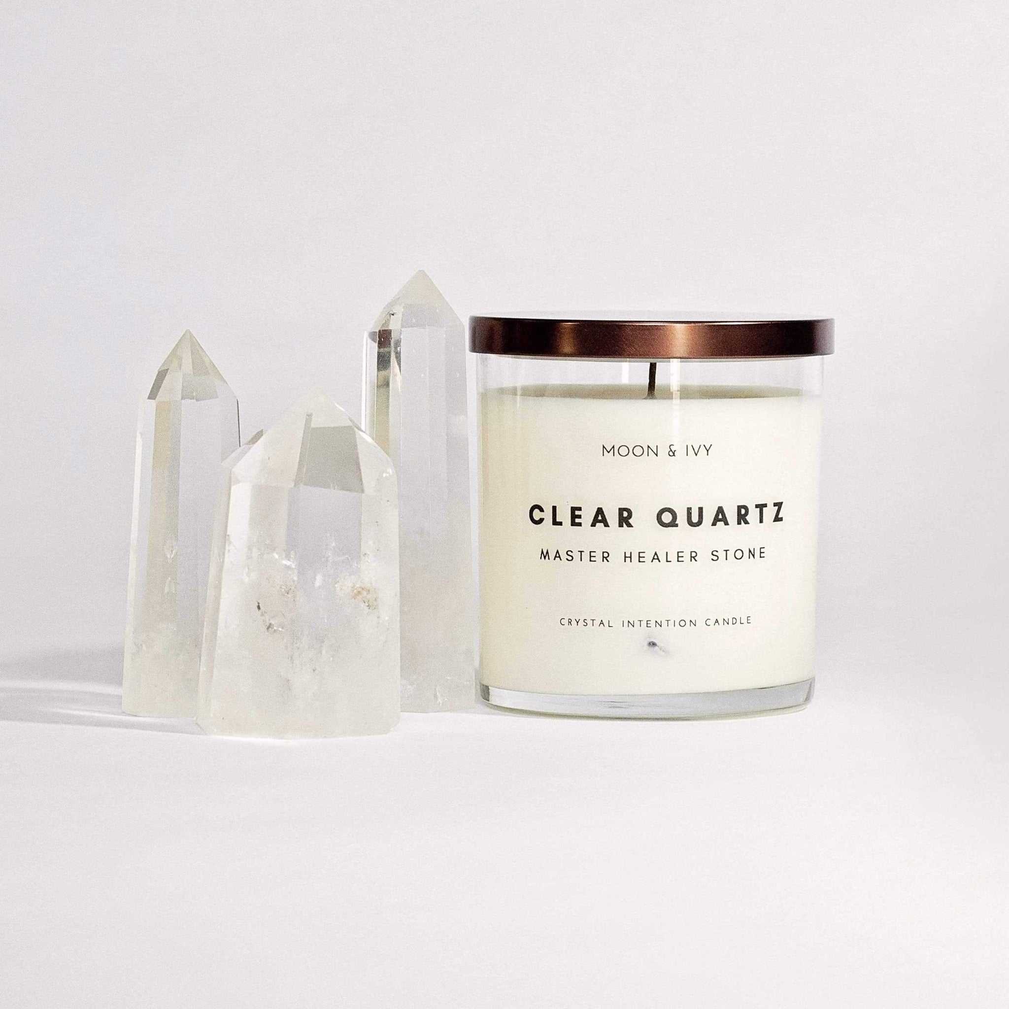 Clear Crystal Quartz Soy Candle Floral/Clean (Master Healer)