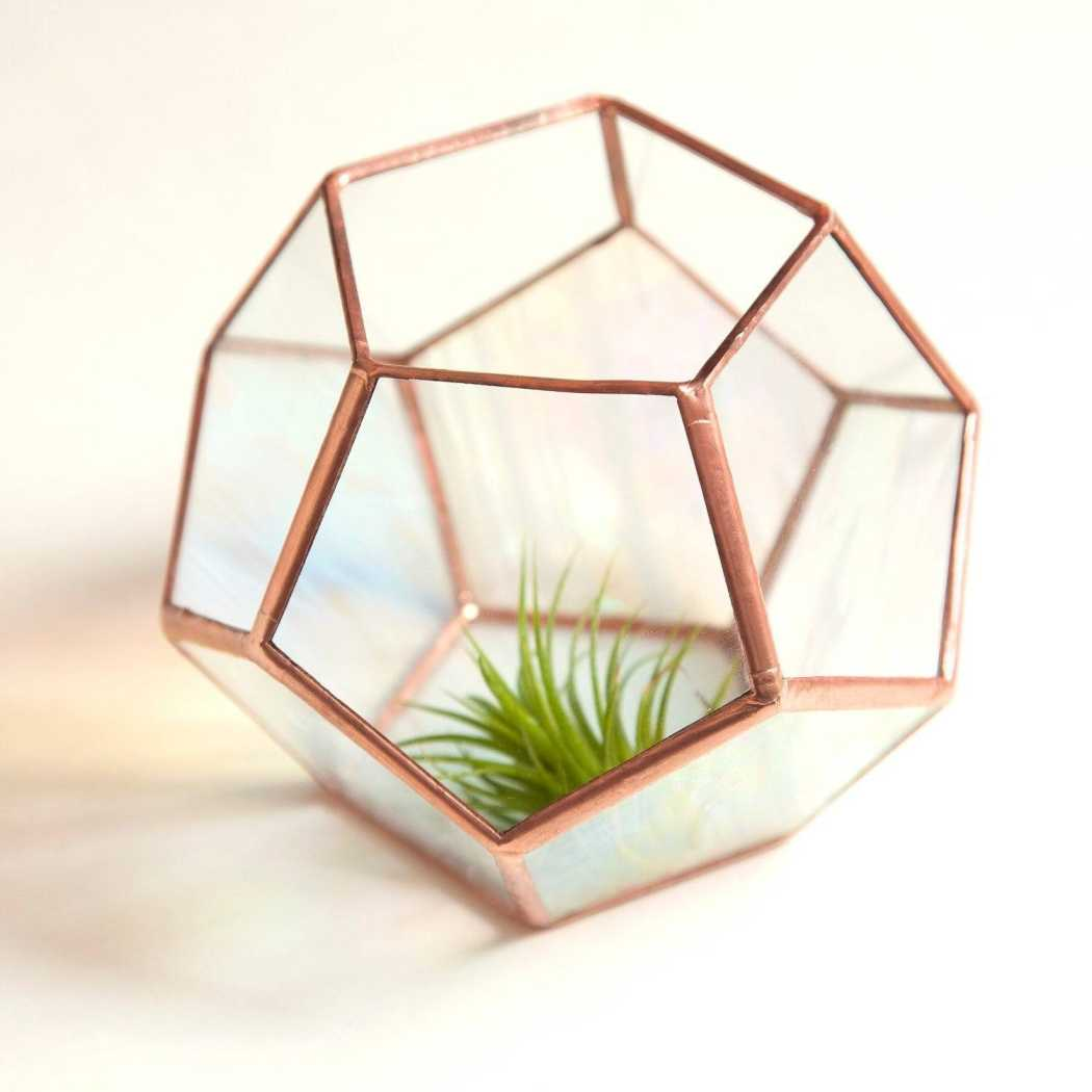 Clear & Rainbow Glass Dodecahedron // Small Geometric Terrarium Planters Glass House Studios