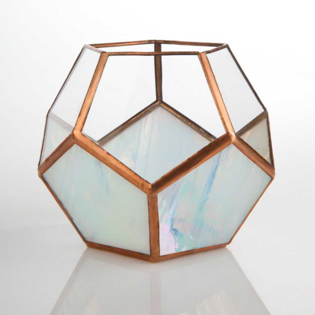 Clear & Rainbow Glass Dodecahedron // Small Geometric Terrarium Planters Glass House Studios Silver