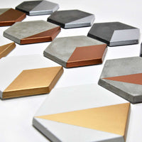 Concrete Metallic Geometric Coasters (Set of 6)