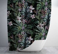 Dark Tropical Pattern Shower Curtain