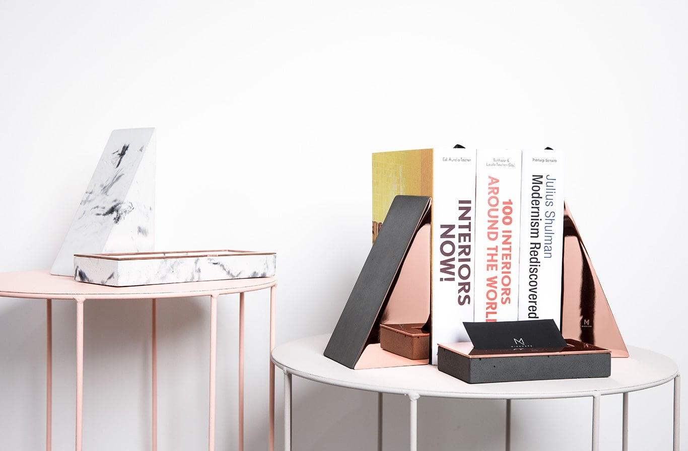 Dark Concrete & Copper Bookends by Minshape (Set of 2 — MBH1.3)