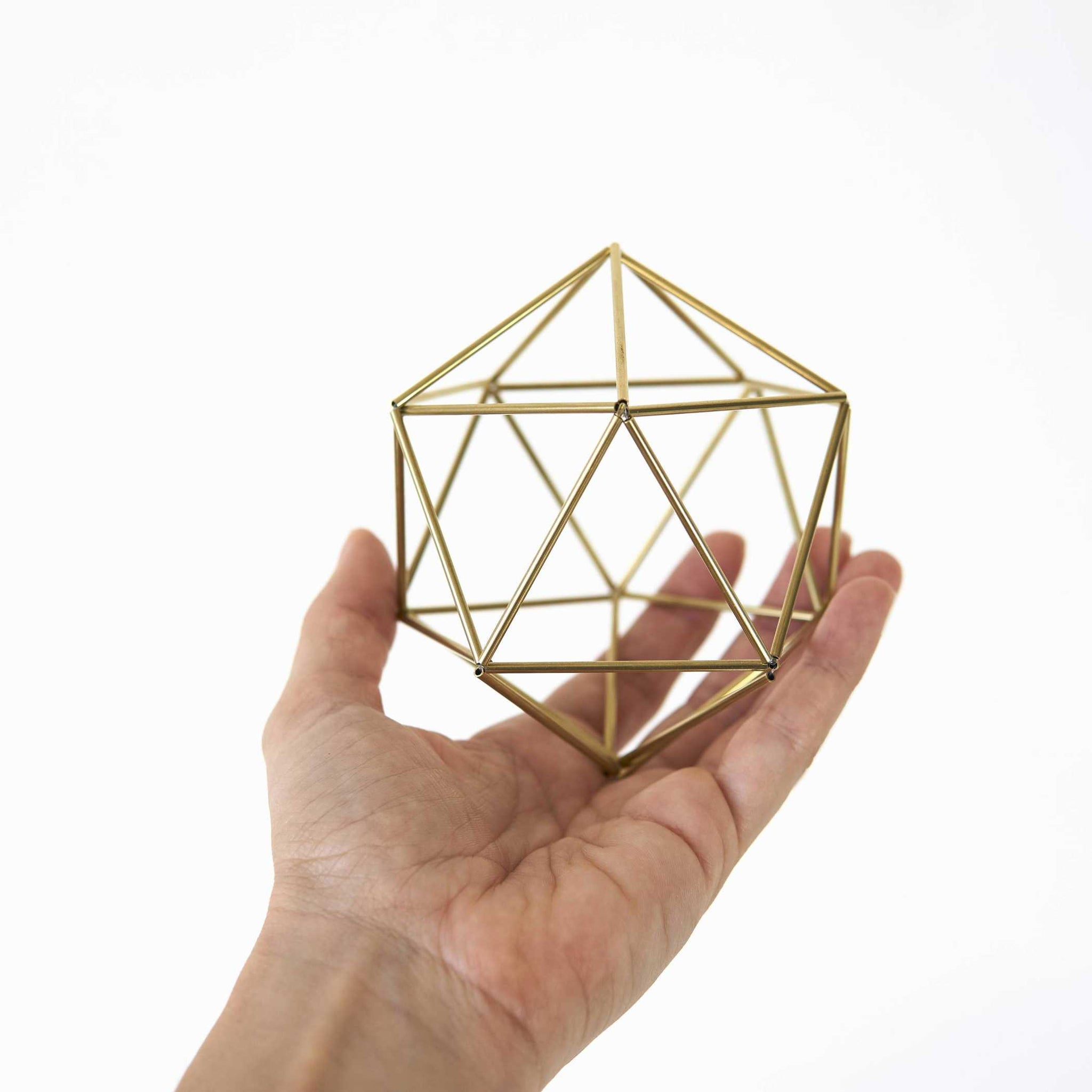 Gold Air plant Holder — Icosahedron Himmeli (with chain) Himmeli Fuxigold