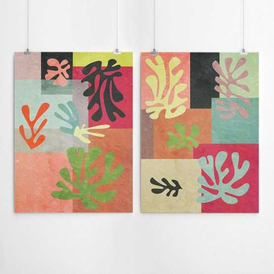 Henri Matisse Inspired Leaves Print - Set of 2 Wall Art Wall Art SennaMi 5x7 inches