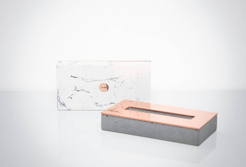 White & Black Marbled Concrete Business Card Holder by Minshape — MCH1.4