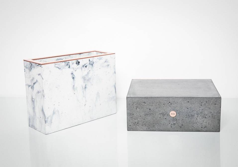 White Marbled Rectangular Concrete Vase by Minshape — MV2.3