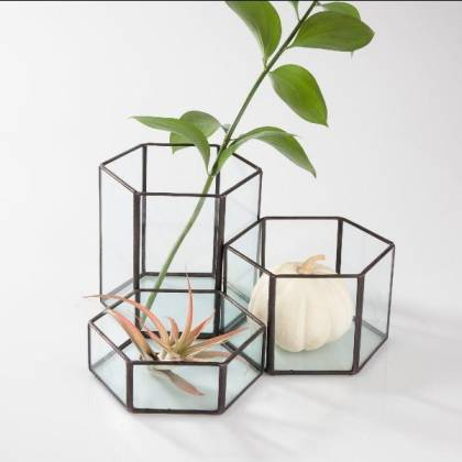 Modular Hexagon Terrariums (Set of 3) Planters Glass House Studios Silver