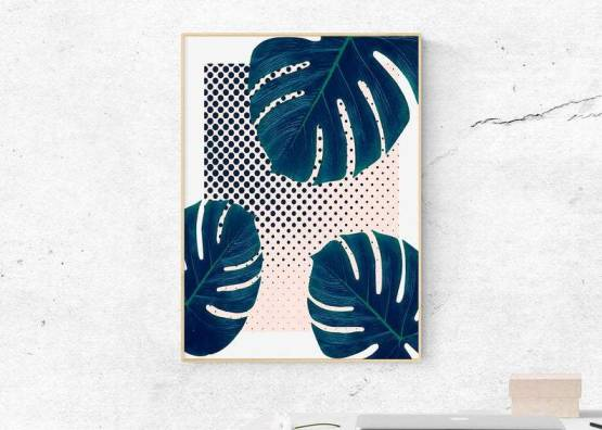 Monstera Tropical Leaf Print Wall Art Digital KeKe