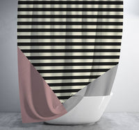 Pink Grey and Black Geometric Striped Shower Curtain