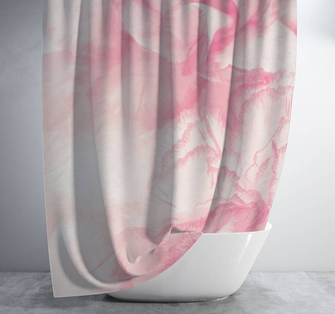 Pink Watercolor Flower Shower Curtain Shower Curtain Days End Designs Standard 70x70