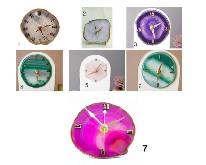Purple Agate Silver Clock Clocks The Crushed Crystal