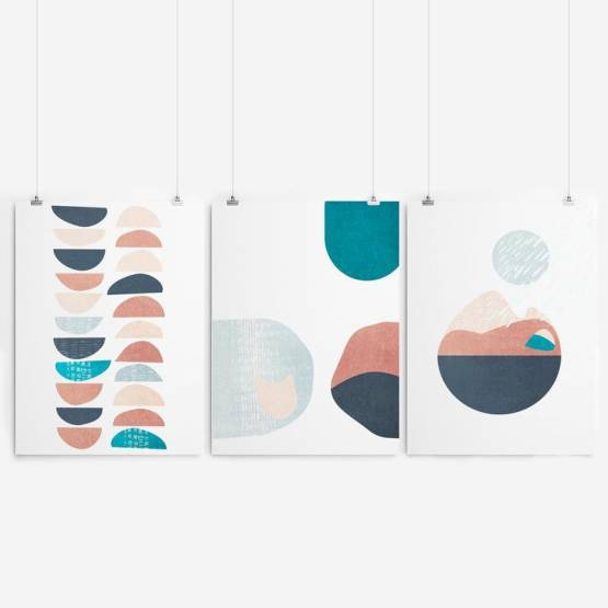 Set of 3 - Modern Tryptic Wall Art Print Wall Art SennaMi 5x7 inches