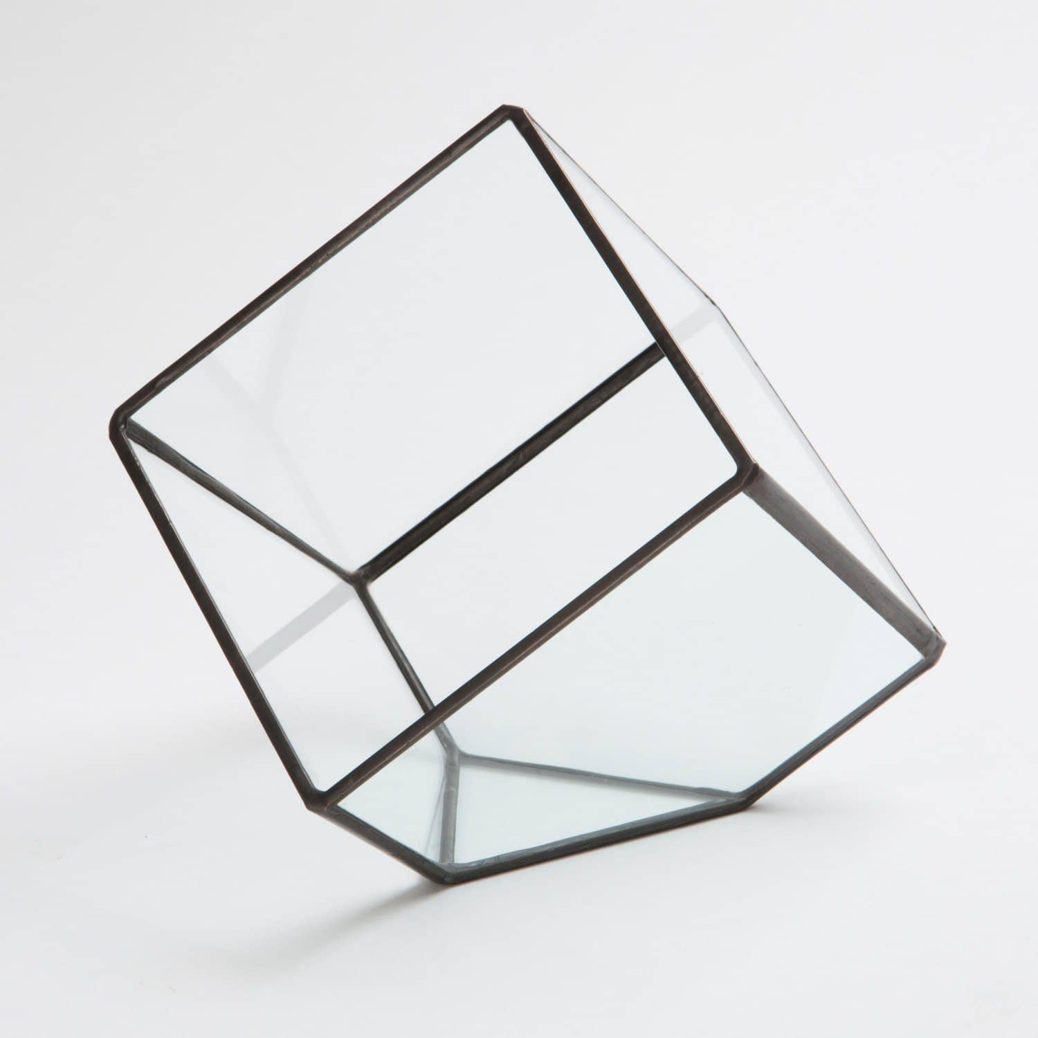 Small Geometric Cube Terrarium Planters Glass House Studios