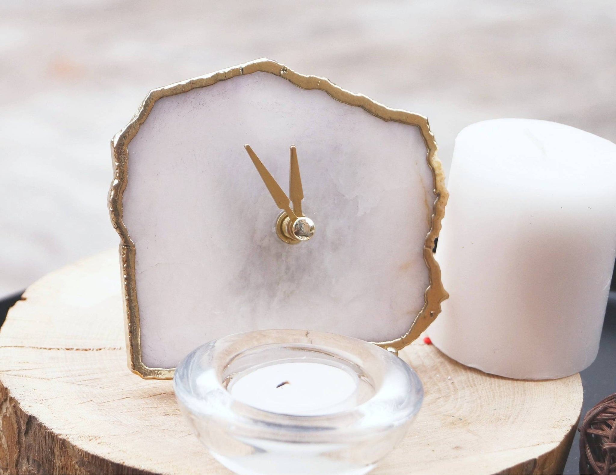 White Quartz Agate Clock Clocks The Crushed Crystal