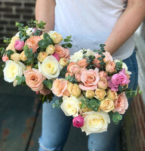 """Blush"" bridesmaid bouquet"