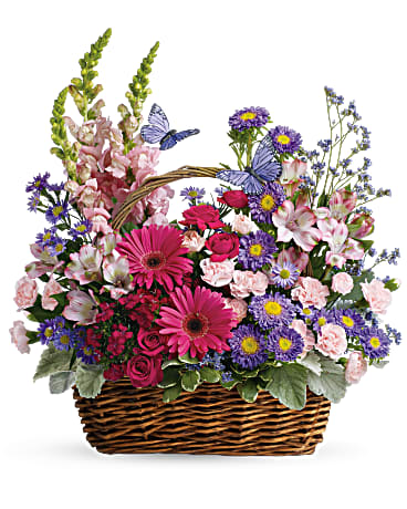Take a walk through a country meadow with this fresh flower basket!  Includes:  Pink gerberas and mini roses, purple astras, light pink alstroemerias, carnations and snap dragons. Basket Free message card