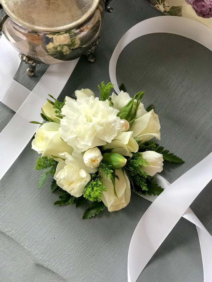 White carnations and Rose Corsage