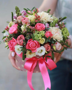 Pop goes the pink! A gorgeously chic gift for any occasion, this pink, white and green bouquet is pure fun.