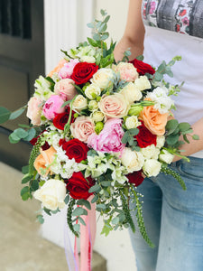 """ In my heart"" cascade bridal bouquet"