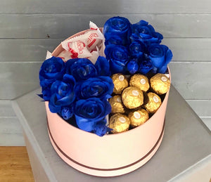 Flowers & candies in blue