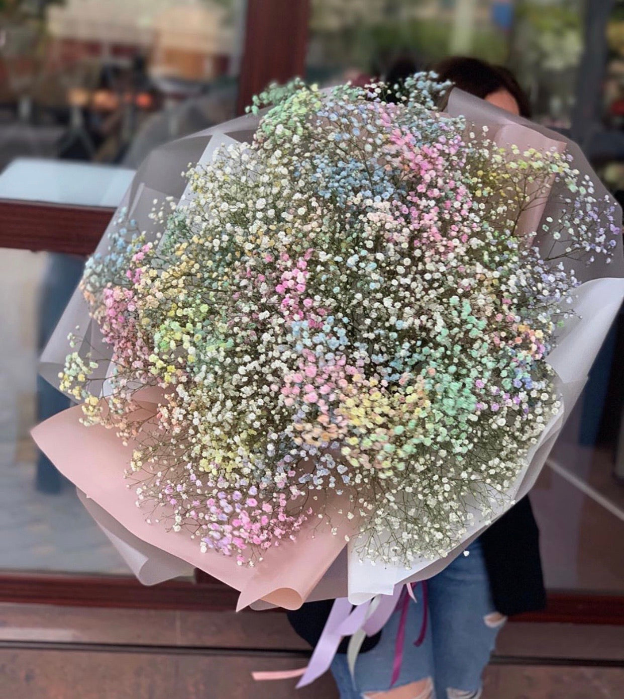 Rainbow baby's breath cloud