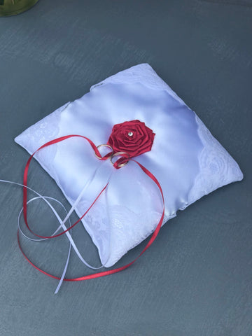 Red Rose Wedding Ring Bearer Pillow