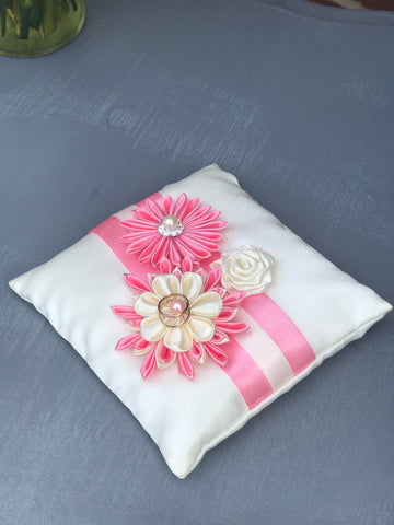 Pink and Ivory Ring Pillow