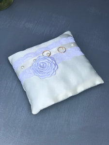 White and ivory Ring Bearer Pillow