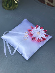 White and hot pink Ring Bearer Pillow