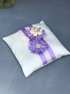 Lavender and Ivory Ring Bearer Pillow