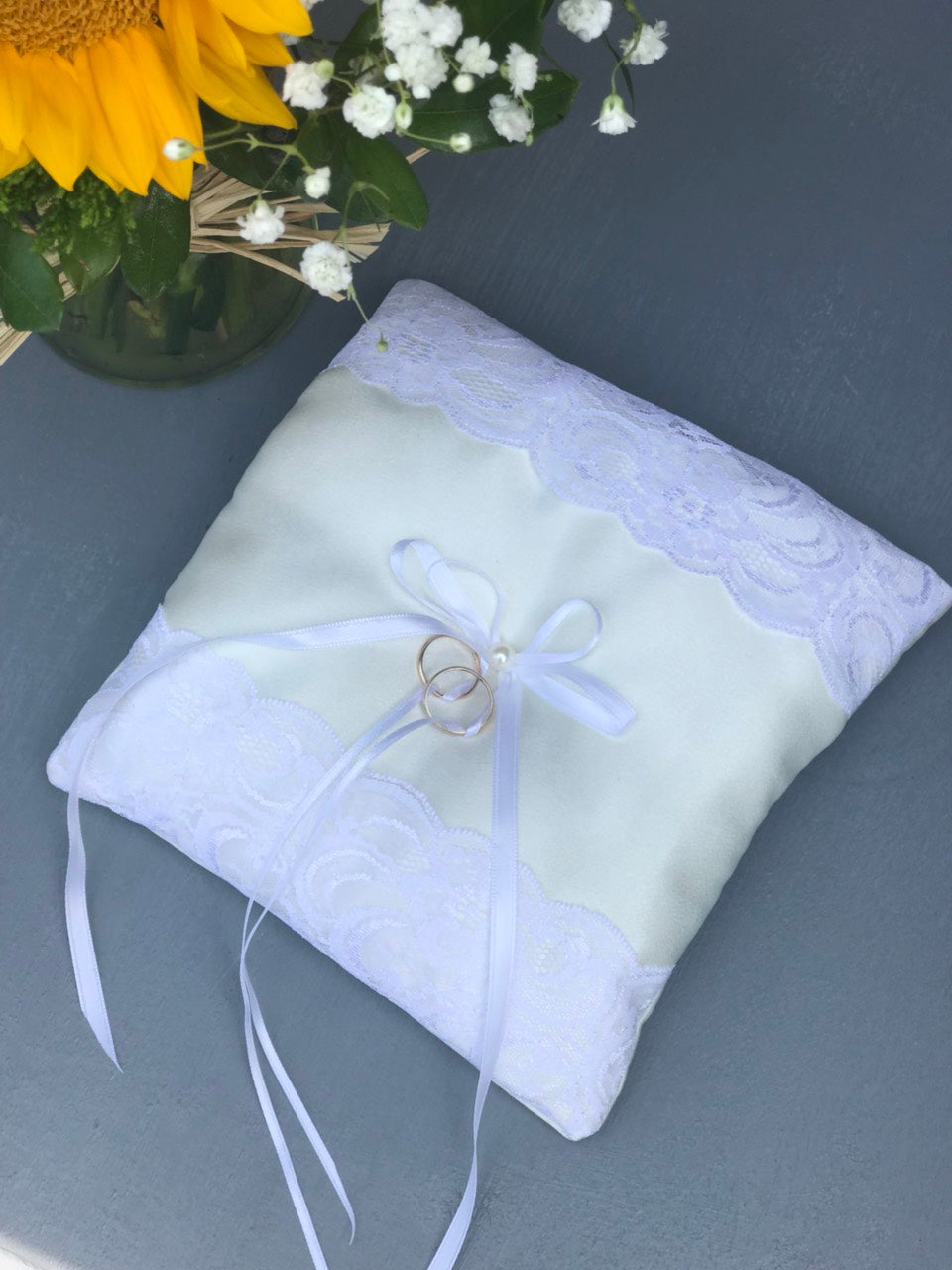 Ivory Ring Bearer Pillow