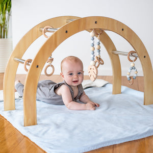 Sustainable Wooden Baby Gym with 5 baby Gym Toys