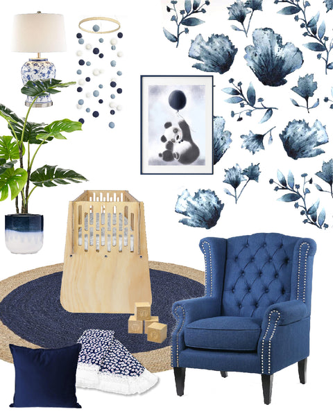 Navy Floral Baby Nursery Design