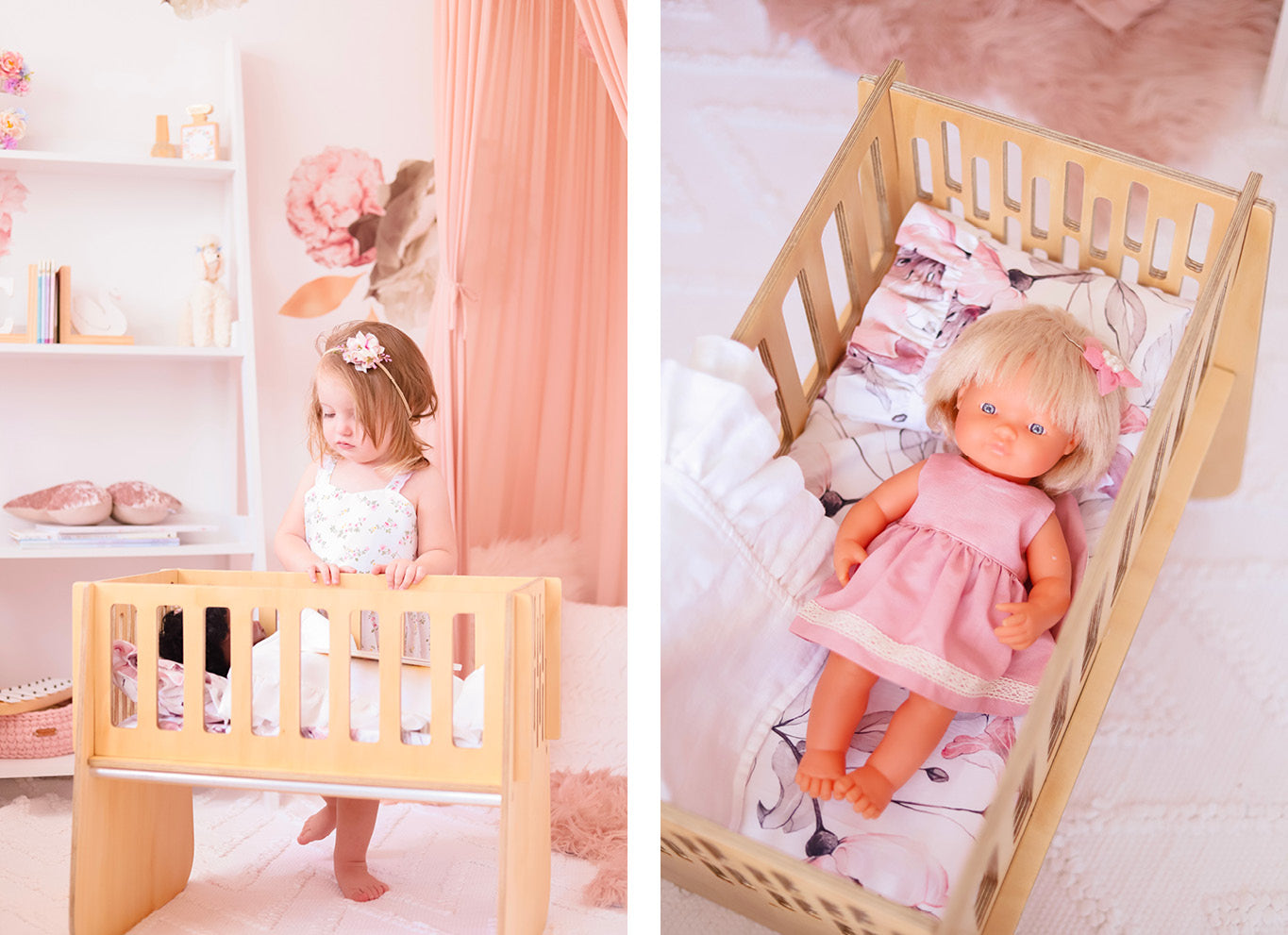 Nester and Cub Wooden Dolls Bed