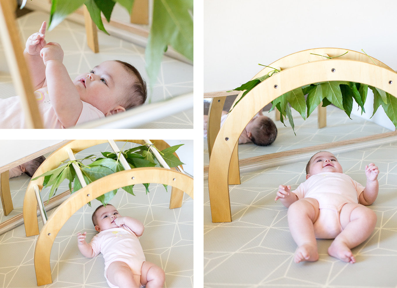 Wooden baby gym play ideas leaves
