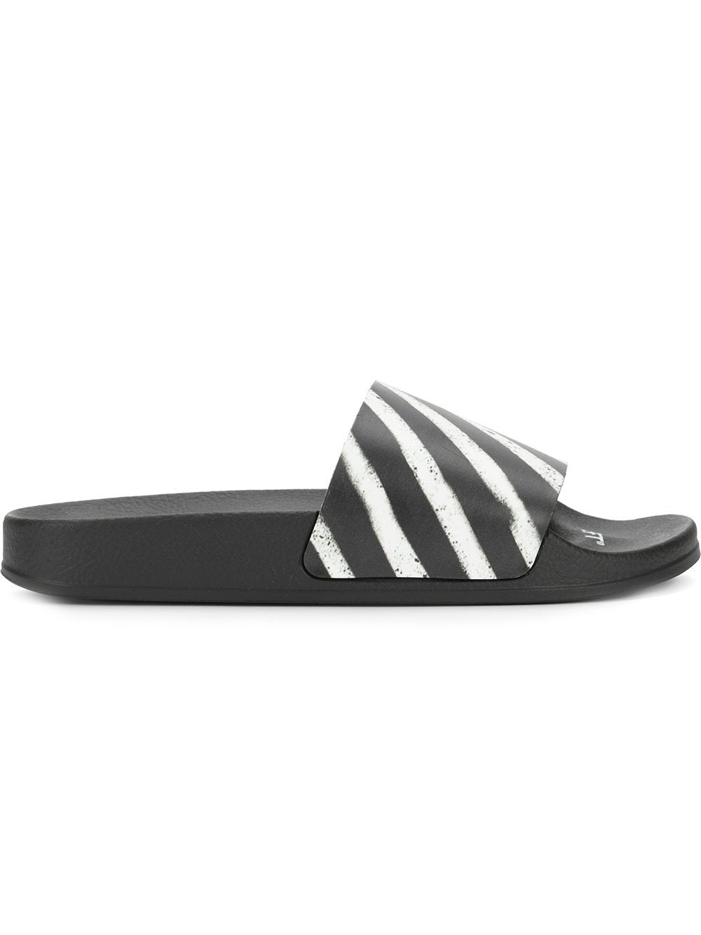 Off White Logo Slides Black White